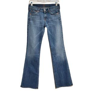 7 For All Mankind Flare Leg Jeans Medium Blue Distressed